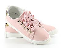 Красивые,модные кеды розового цвета на шнуровке