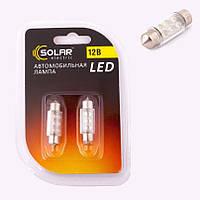 Лампа диодная салона 12v 36mm 6 диод. белая SOLAR LF191 2 шт.