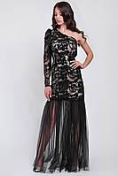 Вечернее платье из вышитой сетки в пол