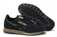 Кроссовки мужские Reebok Classic Suede Black (рибок) синие