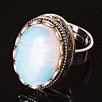 """Кольцо Лунный камень оправа """"зубчик"""" """"М"""" овальный камень 2,1*1,6 см без р-р"""