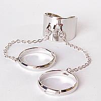 [15,16,17,18,19] Кольцо на три пальчика хомут безразмерные кольца сильвер 15