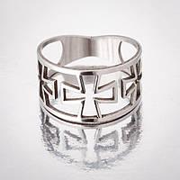 """Кольцо """"Кресты"""" р-р 17-20 ажурное под """"серебро h-5-12 мм 17"""