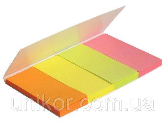 """Закладки бумажные 20х50 мм, 4 цвета """"NEON"""" по 40 листов. AXENT"""