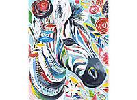 """Картина по номерам """"Зебра в цветах"""" 40х50см, Без Коробки"""