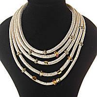 Акция [7 мм] Ожерелье Золотистый песок 5 рядов