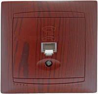 Розетка одинарная телефонная вишня LMR1525,серия Сакура,Lemanso
