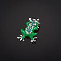 """Брошь  Лягушка зеленая эмаль  со стразами цвет металла """"серебро"""" 3х2,2см"""