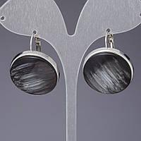 """Серьги """"кошачий глаз"""" (имитация) черные  L-2,5см"""