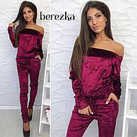 Женский модный велюровый комбинезон, в расцветках