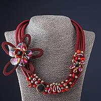 Колье из шнура Красный Цветок красное кож зам L-55 см