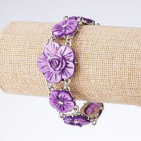 Браслет Чайная Роза резной перламутр фиолетовый L-21см