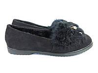 Черные женские туфли с мехом кролика, фото 1