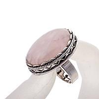 """Кольцо  Розовый кварц оправа  """"зубчик"""" """"Б"""" овальный  камень 2,8*2,1 см без р-р"""