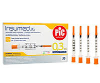 Инсулиновые шприцы INSUMED U-100 0,25 мл 31Gx8 мм (10 шт) для детей
