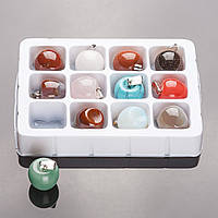 """Набор кулонов  """"Молодильные Яблочки"""" из 12 шт. нат. камней 1,7х2см"""