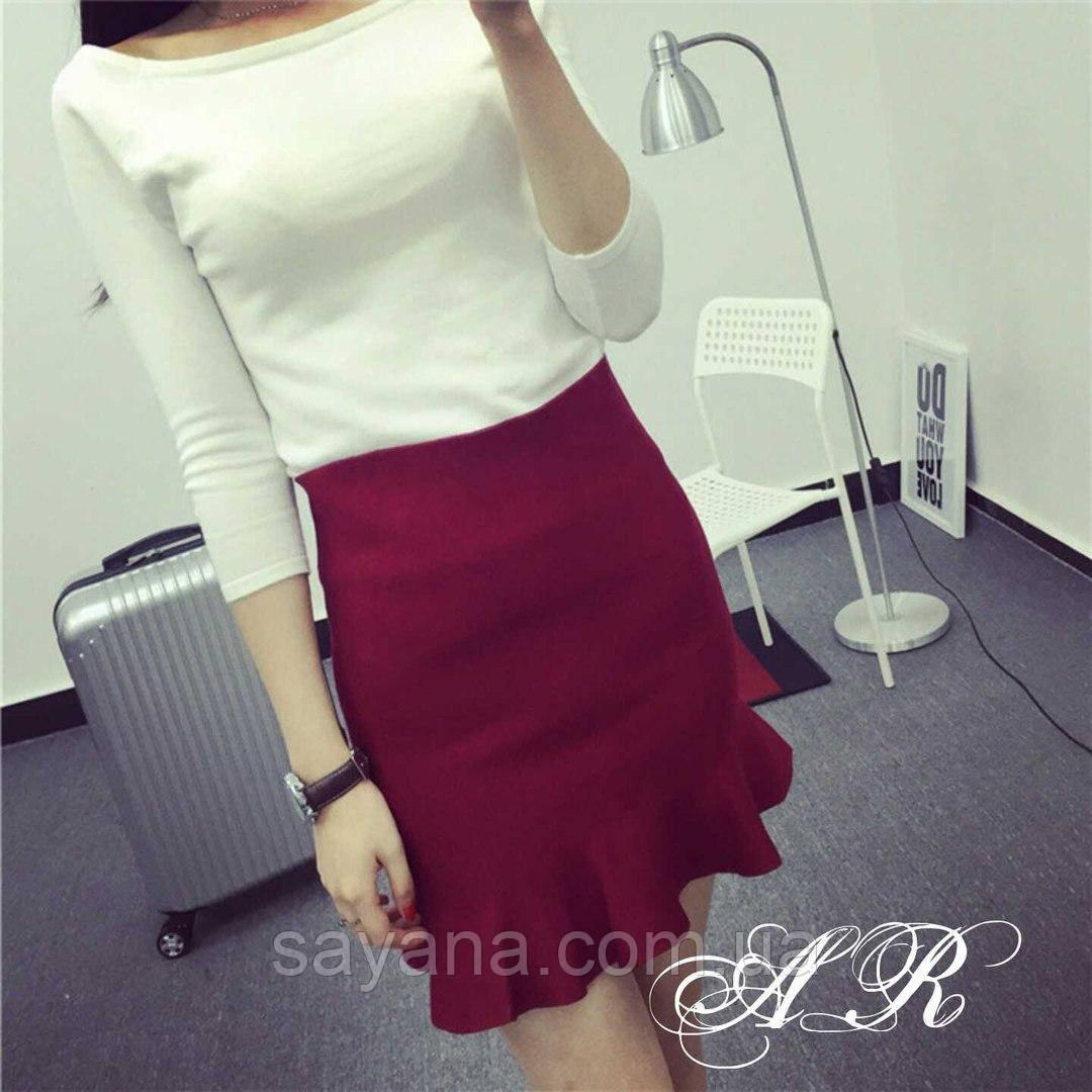 Женская стильная юбка мини с рюшей, 3 цвета.  АР-36-0817