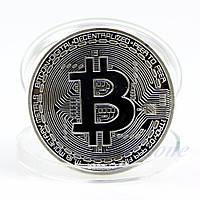 Сувенирная монета Биткоин Bitcoin серебро