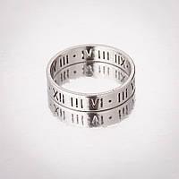 "Кольцо  ""Обручка"" р-р 17-21 под ""серебро"" римские цифры h-4мм 20"