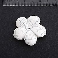 Фурнитура Цветок натуральный камень Ø 4,1 см Кахолонг