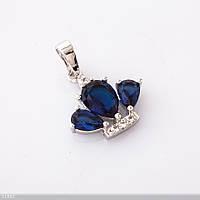 Кулон  Хьюпинг Корона синий камень  цвет серебро L-2см