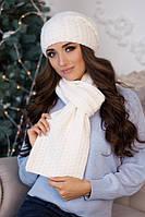 Женский вязаный комплект шапка и шарф Коссандра в разных цветах
