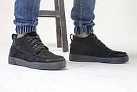 Ботинки мужские зимние замшевые черные 0463УКМ