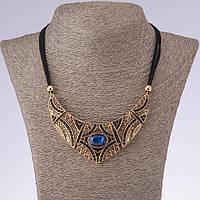 """Колье на шнурах с кристаллом  """"Византия"""" синие стразы, цвет металла """"старинное золото"""" L-45-50см"""