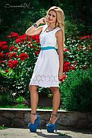 Оригинальное белое платье с декоративным лифом