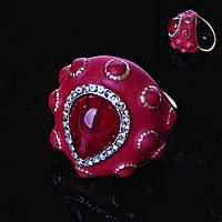 Перстень пышный красный эмаль 18