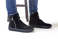 Ботинки мужские зимние замша натуральная высокие черные 0464УКМ