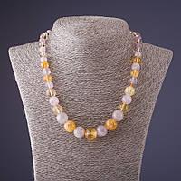 Бусы камень Цитрин и Розовый кварц (шарик на увеличение d-5-12мм L-45см)