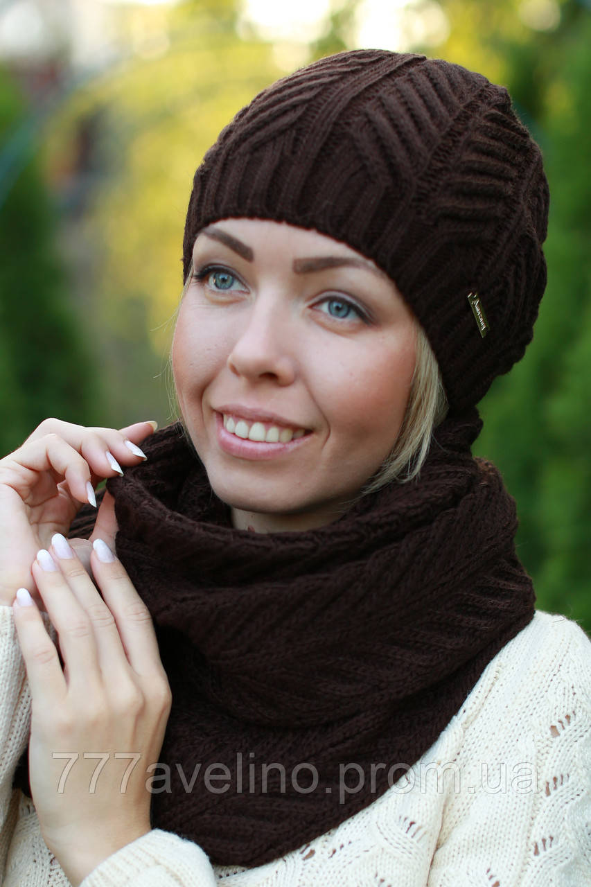 Комплект шапка и шарф женский
