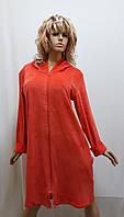 Женский велюровый халат большого размера на змейке. 622