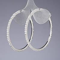 Серьги кольца стразовые белые   d-6,5см