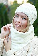 Шапка на флисе и шарф комплект женский зимний