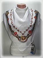 Шерстяной платок, цветочный принт белый с красным