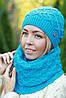 Комплект шапка и шарф шерстяной черный, фото 7