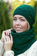 Зимний женский комплект шапка на флисе и шарф