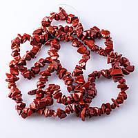 """Бусы на леске нат. камень Яшма красная  """"каменная крошка  """"   3-10мм 85-90см"""