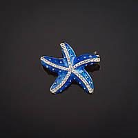 """Брошь """"Морская звезда"""" синяя перламутровая эмаль, стразы цвет металла """"золото"""" 2,8х2,8см"""