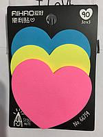 Бумага для заметок стикер в виде сердца 30 листов набор 3 шт.