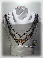 Шерстяной платок, цветочный принт белый с коричневым
