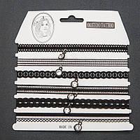 Чокер набор ажурная тесьма черная с подвеской 6 шт.