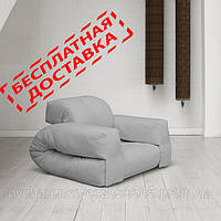 """Кресло кровать """"Hipo"""" св.серое , раскладное кресло,кресло диван, кресло для дома, бескаркасное кресло."""