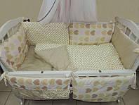 Детское постельное белье в кроватку Bonna Подарочный Бежевые сердечки