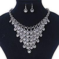 Набор Серьги и Ожерелье Танец Павлина , металлическая цепочка с тонкими колечками и стразами Silver