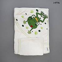 """Махровое полотенце-уголок """"Лягушка"""" с варежкой для купания, 75х78 см"""