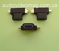 Переходник HDMI - mini HDMI + micro HDMI