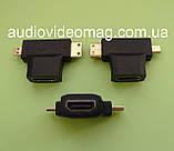 Переходник HDMI - mini HDMI + micro HDMI, фото 2